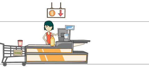 Tired Grocery Store Cashier: Animation + Looping Animation