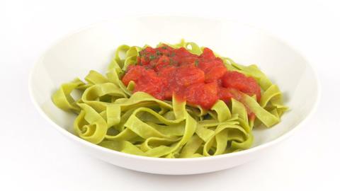 Dish Pasta Tagliatelle Green Tomato stock footage