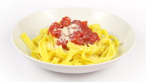 dish pasta tagliatelle tomato Footage
