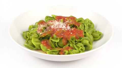Dish Pasta Tortelli Green Tomato stock footage