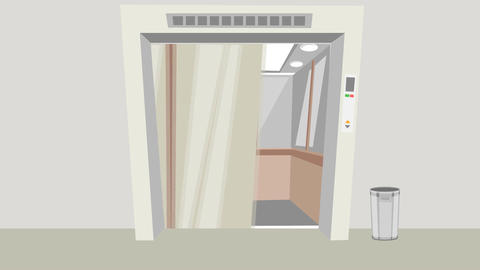 Cartoon Elevator Doors, Opening & Closing: Loop Animation