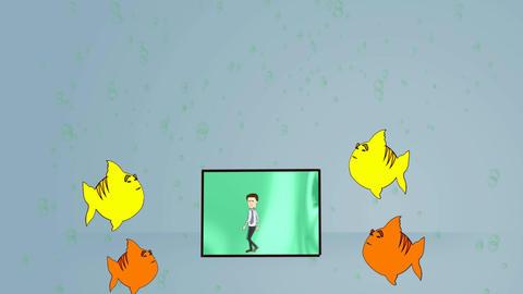 Man in Aquarium (Version 1): Looping Animation