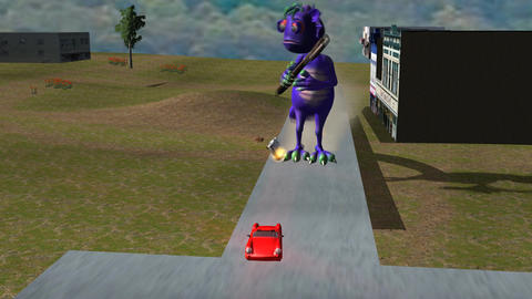 Purple Monster Attacking City (Front Shot) stock footage