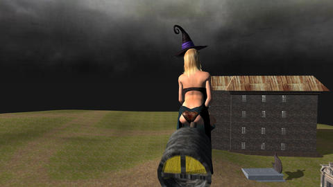 Sexy Witch on Turbo Broom: Backside Shot Animation
