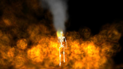 Skeleton Running with Hell Fire Animation
