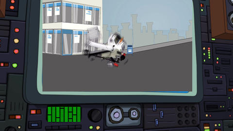Cartoon Truck Explodes on Control Center Monitor Animation