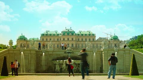 Belvedere Palace fountain and garden, Vienna, Aust Footage