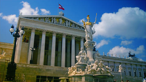 View Of Parliament In Vienna Austria In The Mornin stock footage