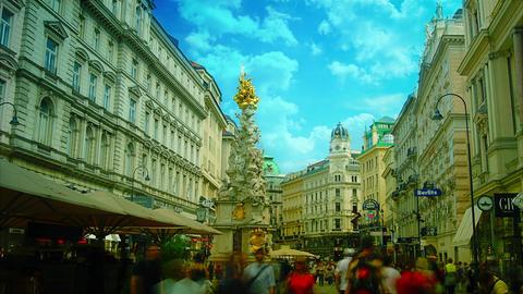 Column on Graben, old town main street in Vienna,  Footage