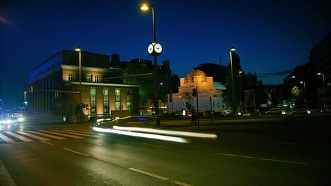 traffic night near Secession Building,, Vienna, Au Footage