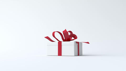 White, low gift box with red ribbon opening Animation
