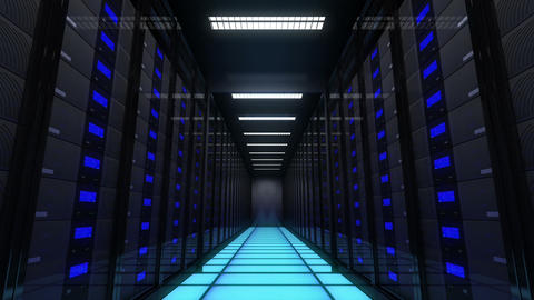 Computer servers in a Data Center. Loopable Animation