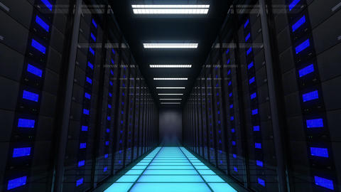Computer servers in a Data Center. Loopable Stock Video Footage