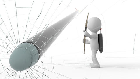 Archery, 3d cartoon human shoots the glass Animation