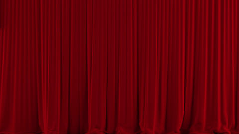 Red Theater Curtain Rise/open stock footage