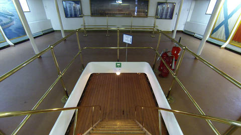 Staircase Between Decks On The Cruiser Aurora stock footage