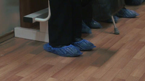 Feet In The Shoe Covers. Patients On Admission To  stock footage