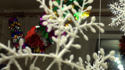 Christmas tree lights hanging in the room Footage