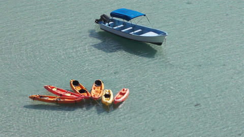 Kayaks Boat Ocean Bay stock footage