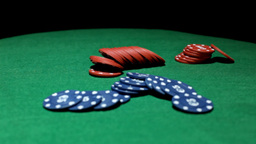 Poker chips on green table Footage