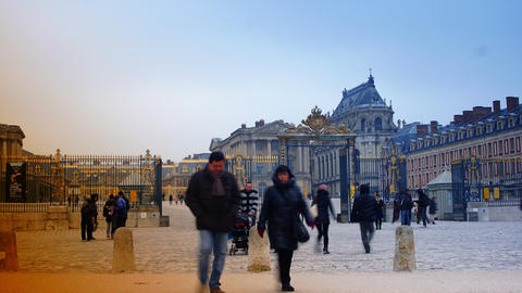 Versailles, France - Crowds of Tourists, time laps Footage