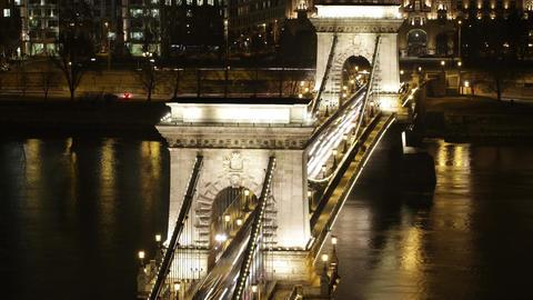 4K Budapest Hungary Chain Bridge Night Timelapse 1 Footage