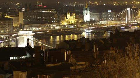 4K Budapest Hungary Downtown Night Timelapse 30 Footage