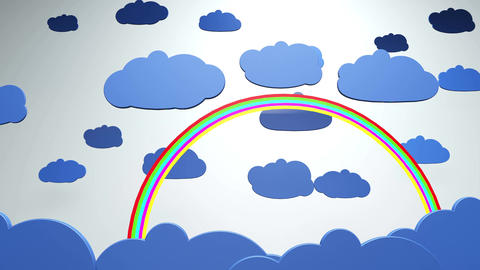 4K Cartoony Clouds and Rainbow 1 Animation