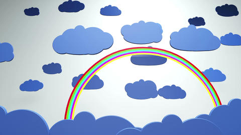 Cartoony Clouds and Rainbow 1 Animation