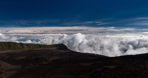 4K clouds fast forming on a volcano, Timelapse Live Action