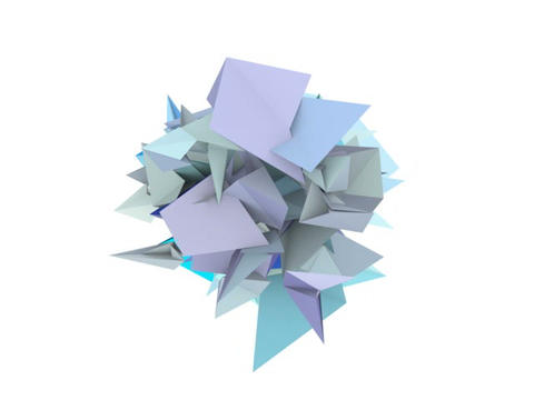 3d abstract blue spiked shape on white Animation
