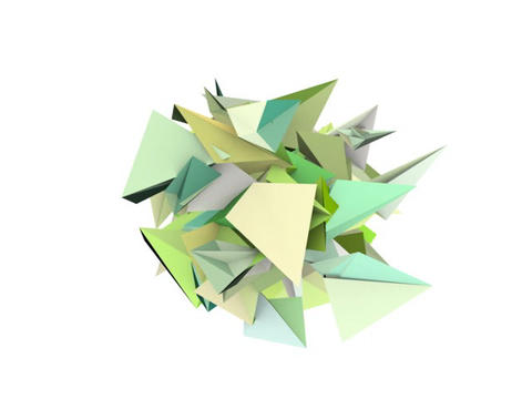 3d abstract green spiked shape on white Animation
