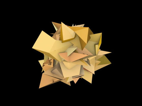 3d abstract orange spiked shape on black Animation