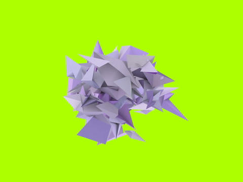 3d abstract purple spiked shape on green Stock Video Footage