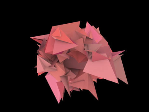 3d abstract pink red spiked shape on black Animation