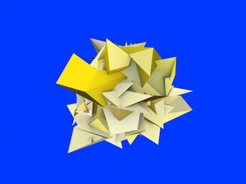 3d Abstract Yellow Spiked Shape On Blue stock footage
