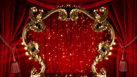 Red Stage Golden Frame, Stock Animation