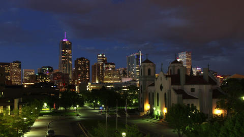 Downtown Denver and Auraria Campus at Nightfall Footage