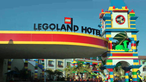 CARLSBAD, CA, CIRCA 2014: Legoland Hotel Californi stock footage