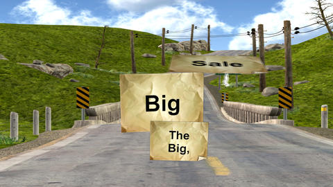 "Characters Carrying the ""Big, Big Sale"" Signs Animation"