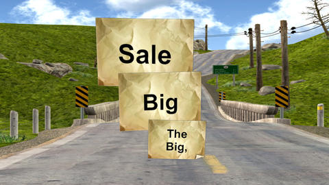 """Characters Carrying the """"Big, Big Sale"""" Signs Stock Video Footage"""