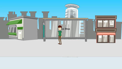 Impatient Man at Bus Stop: Animation Animation