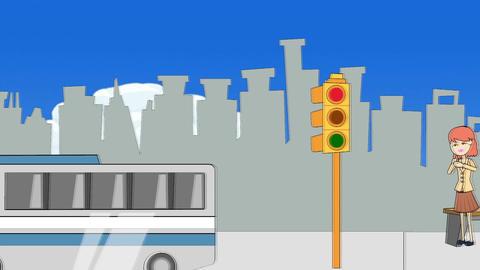 Cartoon Street w/ People (POV walking or driving) Animation