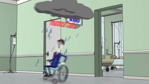 """Man in Wheelchair Avoiding """"Insurance Costs"""" Storm Animation"""