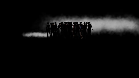 Silhouette of People in Fog, with Spotlight Animation