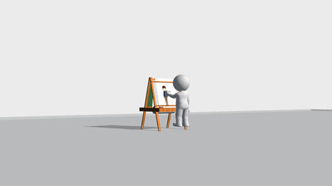 Mr Poser Animated: At the Drawing Board Stock Video Footage
