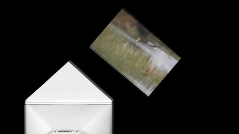 Animated Envelope Invitation: Lake Scene Stock Video Footage