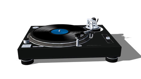 Record Turntable: White Background Animation