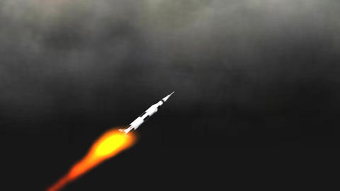 Saturn Rocket through the Clouds: Version #1 Animation