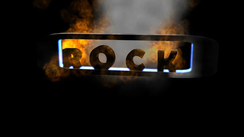 "Fiery Letters: ""Rock"" (Looping Animation"